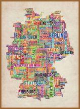 Large Text Art Map of Germany (Wood Frame - Teak)