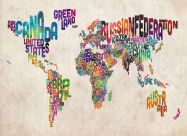 Medium Text Art Map of the World (Rolled Canvas - No Frame)