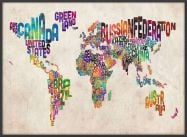 Large Text Art Map of the World (Wood Frame - Black)