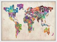 Small Text Art Map of the World (Wood Frame - White)