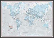 Large The World Is Art - Wall Map Aqua (Wood Frame - Black)