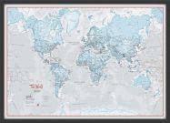 Small The World Is Art - Wall Map Aqua (Wood Frame - Black)