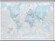 Medium The World Is Art - Wall Map Aqua (Hanging bars)