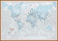 Large The World Is Art - Wall Map Aqua (Wood Frame - Teak)