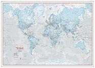 Large The World Is Art - Wall Map Aqua (Wood Frame - White)
