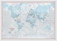 Medium The World Is Art - Wall Map Aqua (Wood Frame - White)