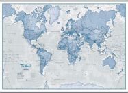 Huge The World Is Art - Wall Map Blue (Rolled Canvas with Hanging Bars)