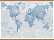 Huge The World Is Art - Wall Map Blue (Wooden hanging bars)