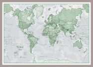 Small The World Is Art - Wall Map Green (Pinboard & framed - Silver)