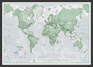 Small The World Is Art - Wall Map Green (Wood Frame - Black)