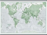 Small The World Is Art - Wall Map Green (Hanging bars)
