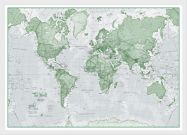 Medium The World Is Art - Wall Map Green (Wood Frame - White)