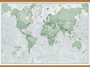Large The World Is Art - Wall Map Green (Wooden hanging bars)