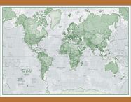 Medium The World Is Art - Wall Map Green (Wooden hanging bars)