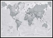 Huge The World Is Art - Wall Map Grey (Pinboard & framed - Black)