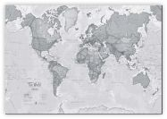 Large The World Is Art - Wall Map Grey (Canvas)
