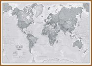 Large The World Is Art - Wall Map Grey (Wood Frame - Teak)