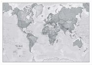 Large The World Is Art - Wall Map Grey (Wood Frame - White)