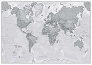 Large The World Is Art - Wall Map Grey (Magnetic board and frame)
