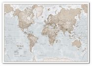 Small The World Is Art - Wall Map Neutral (Canvas)