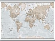 Small The World Is Art - Wall Map Neutral (Hanging bars)