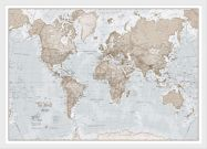 Medium The World Is Art - Wall Map Neutral (Pinboard & wood frame - White)