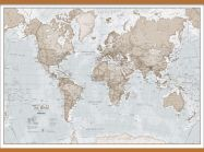 Large The World Is Art - Wall Map Neutral (Wooden hanging bars)
