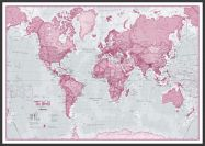 Large The World Is Art - Wall Map Pink (Wood Frame - Black)