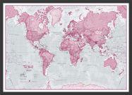 Medium The World Is Art - Wall Map Pink (Pinboard & wood frame - Black)