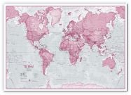 Huge The World Is Art - Wall Map Pink (Canvas)