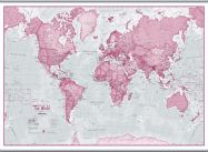 Huge The World Is Art - Wall Map Pink (Rolled Canvas with Hanging Bars)