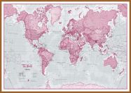 Large The World Is Art - Wall Map Pink (Pinboard & wood frame - Teak)