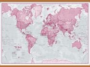 Large The World Is Art - Wall Map Pink (Wooden hanging bars)