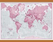 Medium The World Is Art - Wall Map Pink (Wooden hanging bars)