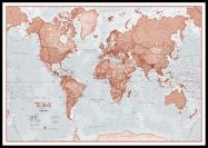 Large The World Is Art - Wall Map Red (Pinboard & framed - Black)