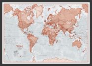 Small The World Is Art - Wall Map Red (Pinboard & wood frame - Black)