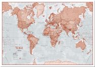 Small The World Is Art - Wall Map Red (Pinboard)