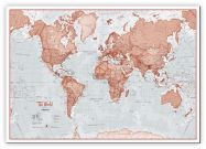 Large The World Is Art - Wall Map Red (Canvas)