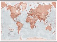 Huge The World Is Art - Wall Map Red (Hanging bars)