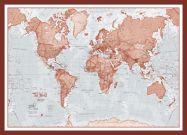 Medium The World Is Art - Wall Map Red (Pinboard & framed - Dark Oak)