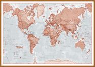 Large The World Is Art - Wall Map Red (Pinboard & wood frame - Teak)
