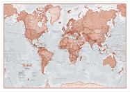 Large The World Is Art - Wall Map Red (Wood Frame - White)