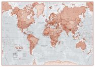 Small The World Is Art - Wall Map Red (Laminated)