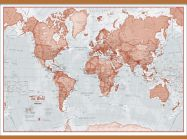 Large The World Is Art - Wall Map Red (Wooden hanging bars)