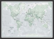 Small The World Is Art - Wall Map Rustic (Wood Frame - Black)