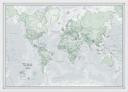 Small The World Is Art - Wall Map Rustic (Wood Frame - White)