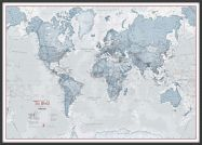 Large The World Is Art - Wall Map Teal (Wood Frame - Black)