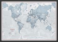 Small The World Is Art - Wall Map Teal (Wood Frame - Black)