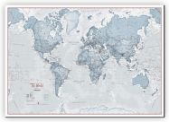 Huge The World Is Art - Wall Map Teal (Canvas)