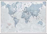 Huge The World Is Art - Wall Map Teal (Hanging bars)